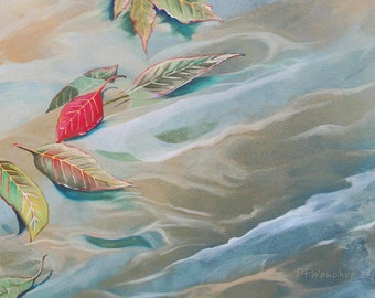 Art Greeting card, Handmade note card, Blank art card, Fine art card, Water with floating leaves + charity donation