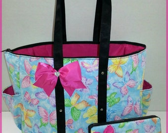 Butterfly diaper bag. Glitter. Turquoise. Pink. Bow. Tote. Matching wipe case.