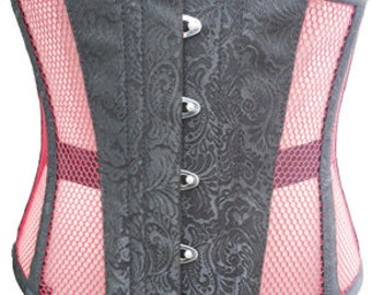 Black Brocade & Pinkish Underbust Corset Top Waist Cincher