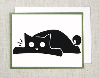 Lazy cat Greeting Card Silkscreen A2 Cat Lover Screenprint Art Notecard