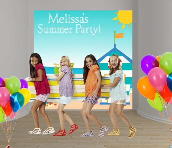 Summer Party Personalized Photo Backdrop Pool