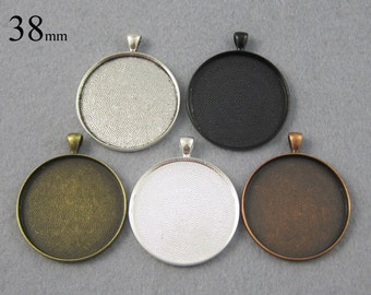 25 Pieces 1.5 inch Round Pendant Tray, 38mm Round Blank Pendant Bezel Setting  - Great to Match Glass and Epoxy