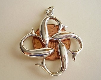 Four Dolphins Love Peace friendship & Unity Sterling Silver Pendant