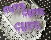 "Purple Glitter Laser Cut Acrylic Creepy "" Cute "" Letter Cabochons - 50mm - Kawaii Drippy Cabochons"
