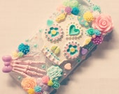 Dreamy Pastel Day of the Dead Decoden Phone Case - Custom Made Day of the Dead Phone Case