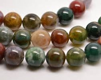 Indian Agate Natural Gemstone - 6mm Rounds - Pack 50