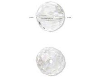 Czech Firepolish 10mm Facet Round - Crystal - Pack 15