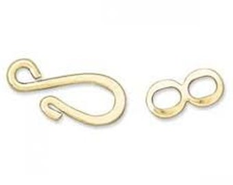 Hook and Eye Clasp with Ring - Gold - Pack 6