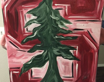 Stanford Cardinal Abstract Painting