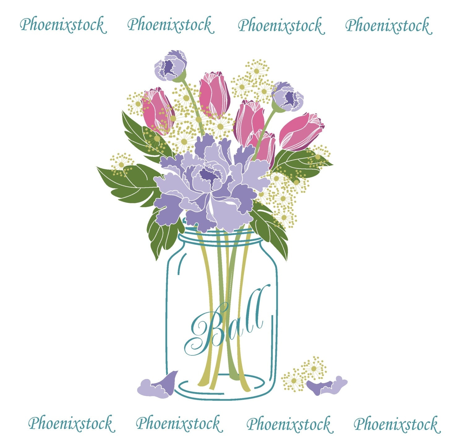 Mason Jar With Flowers Clip Art Cliparts