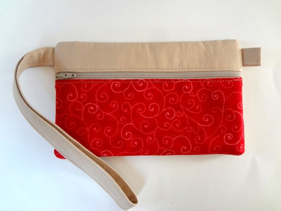 Red Wristlet with Music and Swirls- Clutch/Wallet/Zipper Closure