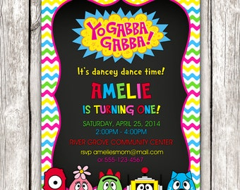 Yo Gabba Gabba Invitation - Yo Gabba Gabba Birthday Party - DIY Printable