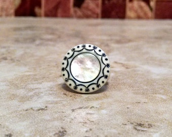 Mother-of-Pearl Button Ring Statement Ring
