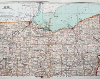 Antique Map : Ohio, Lake Erie, USA, US State Map. Encyclopedia Britannica, 1890s