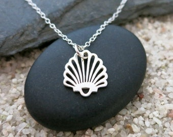Scallop Shell Necklace, Sterling Silver Scallop Shell Charm, Ocean Jewelry, Nature Jewelry