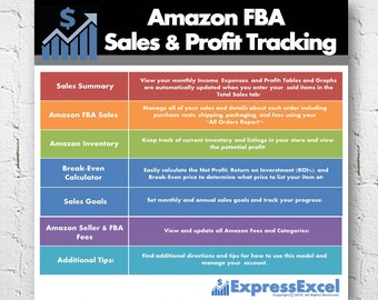 Amazon FBA Seller Sales & Profit + Break Even Calculator | Excel Spreadsheet | Fulfillment by Amazon | US UK Euro Canada | Instant Download