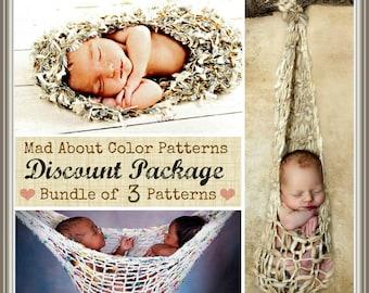 3 KNiTTING PATTERNS DEAL Baby Photo Prop PaTTeRN BuNDLe - Newborn Baby Cocoon Nest, Stork Pouch, Twin Hammock PRoP PaTTeRN TuTORiAL PaCKaGE