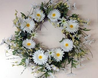 Rustic Wreath White Green Daisy Flowers Spring Door Wreath Large Wreath