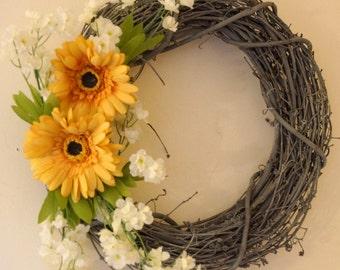 Spring Summer Wreath, Front Door Wreath, Yellow Gerbera Grey White Shabby Chic Decoration