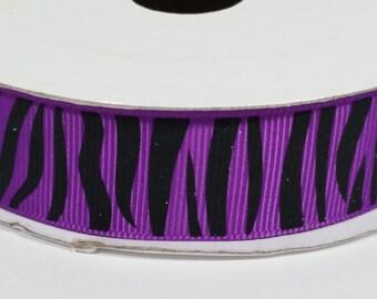 "7/8"" Grosgrain Zebra Ribbon - Purple"