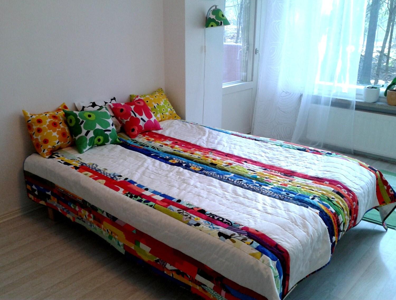 Modern Quilt Made From Marimekko Fabric Patchwork Geometric