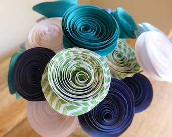 Paper Flower Posy - 18 in Ocean Colours of Blue, Teal, White & Green Stripes