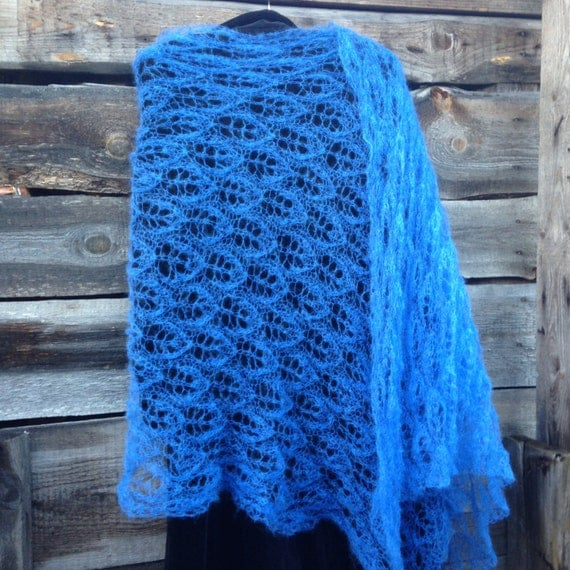 Knitting Pattern Lightweight Scarf : Hand knitted lace scarf lightweight mohair by Surseknitter on Etsy