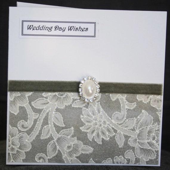 Handmade chiffon glitter lace effect Wedding card