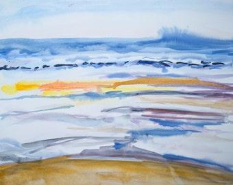 Ocean beach - original watercolor landscape