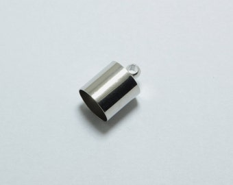 20pcs Cord End Caps in Silver Tone, Tubes, Cord Loops, Cord Caps. Fit for 8mm Cords. Jewelry Findings Supplies #SD-S7464