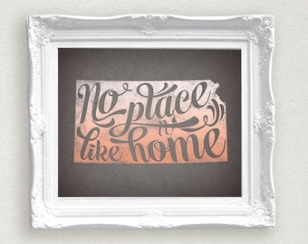 Kansas No Place Like Home Printable Coral Ombre Kansas Home State Print 8 x 10