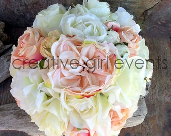 Blush Coral Pink ~ 15 Piece Wedding Bouquet Package ~ Peony Peonies ~ Wedding Flower Package~ Bridal Bouquet~ Wedding Decorations