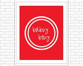 Red Baby Boy Print | 8x10 Printable Art Print | Boy Wall Art | Boy Printable | Nursery Subway Art | Instant Download Printable