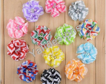 U Pick! 5.5CM 2.2'' inch Wholesale Chiffon Stripe Flower With Pearl For Shoes/ Headband/Hat/Clothes DIY Fabric Accessories-Mixed Color-YTA61
