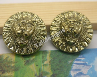 U Pick Handmade Plastic buttons,  Gold Tone Button Lion Button 25mm YTB20