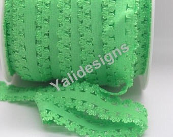 U Pick 1 or 5 or 10 Yards Green 3/4''  Picot Edge Stretch Lace, Frilly edges elastic webbing,Lace for Headbands,Wholesale Headbands YTA35C