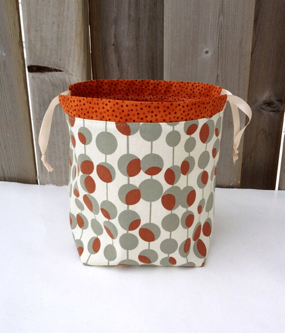 Amy Butler Knitting Bag Pattern : Knitting Bag in Amy Butler rust/ grey/ cream by MyNeedleCrafts