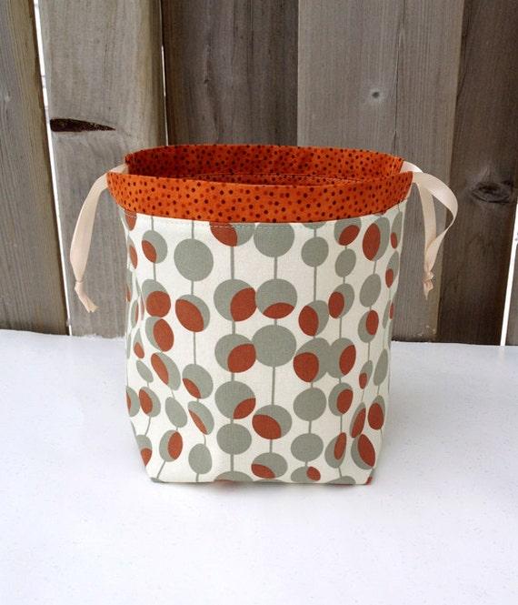 Knitting Bag in Amy Butler rust/ grey/ cream by MyNeedleCrafts
