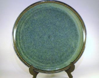 Stoneware Dinner Plate - Blue/Turquoise finish/Oatmeal glaze.