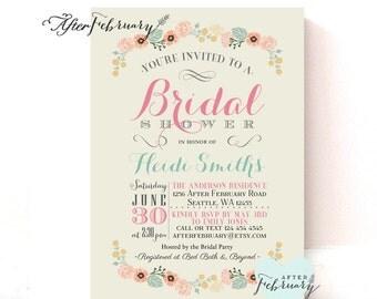 Whimsical Bridal Shower Invitation // Spring Bridal Shower // Summer Shower Invite Floral // Typography // Printable No.936
