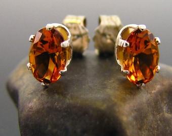 Natural citrine earring, citrine earrings, genuine citrine studs 6x4 mm
