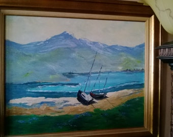 Original painting of two sailboats by Allyne Bane