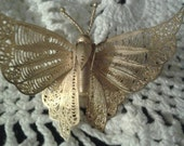 Vintage goldtone filigree butterfly brooch. 1990's decade, estate sale find. Great condition.