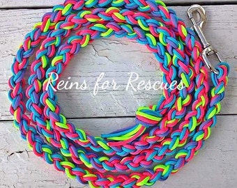 Turquoise, Hot Pink, Lime Green & Lavender Lead Rope