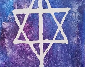 Interfaith Jewish-Christian Star/Cross Original Painting by Ocko Art