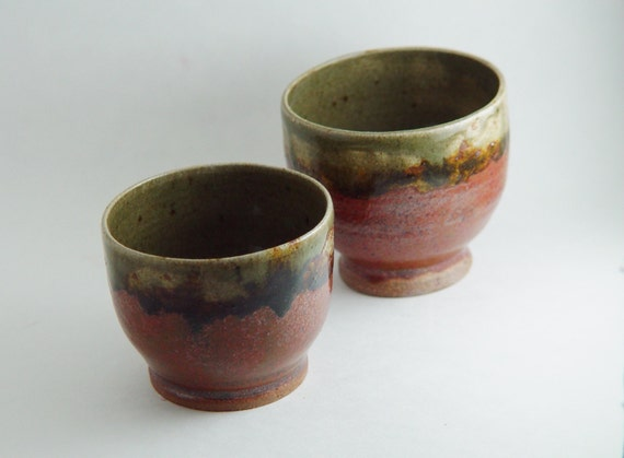 Pair of 6 ounce oz elegant japanese style tea bowls by bwdartco - Handleless coffee mugs ...