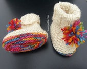 Simple PomPom Booties | Knitted | Newborn, 6months, 12months
