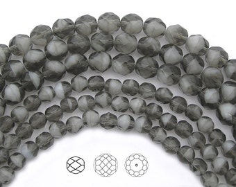 Czech Fire Polished Round Faceted Glass Beads in Grey White Givre 2-tone combination, 6mm and 8mm, 7 inch strands