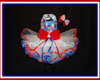 Patriotic 4th of July Dog Dress Tutu Stars and Stripes Dog Dress Red White and Blue Dog Dress Prettiest Pets Designs!