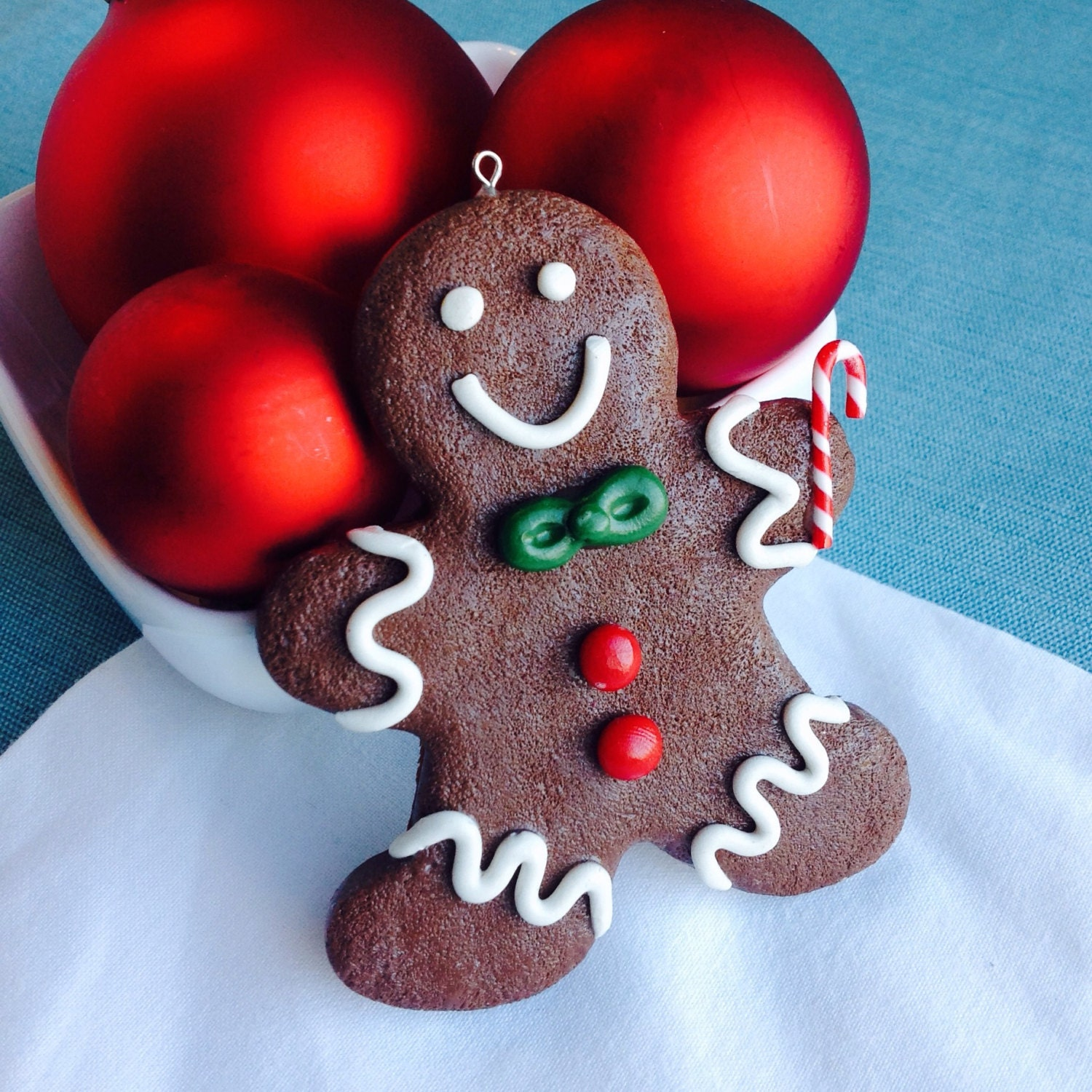 Gingerbread Man Christmas Ornament White Red Green Brown